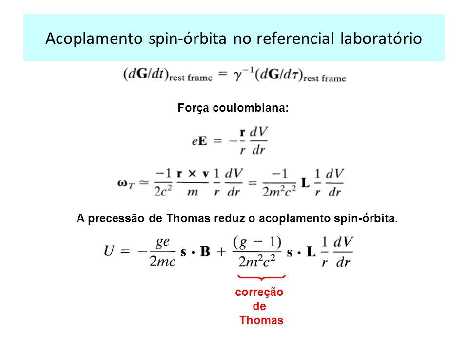 Acoplamento spin-órbita no referencial laboratório Força coulombiana: A precessão de Thomas reduz o acoplamento spin-órbita. correção de Thomas