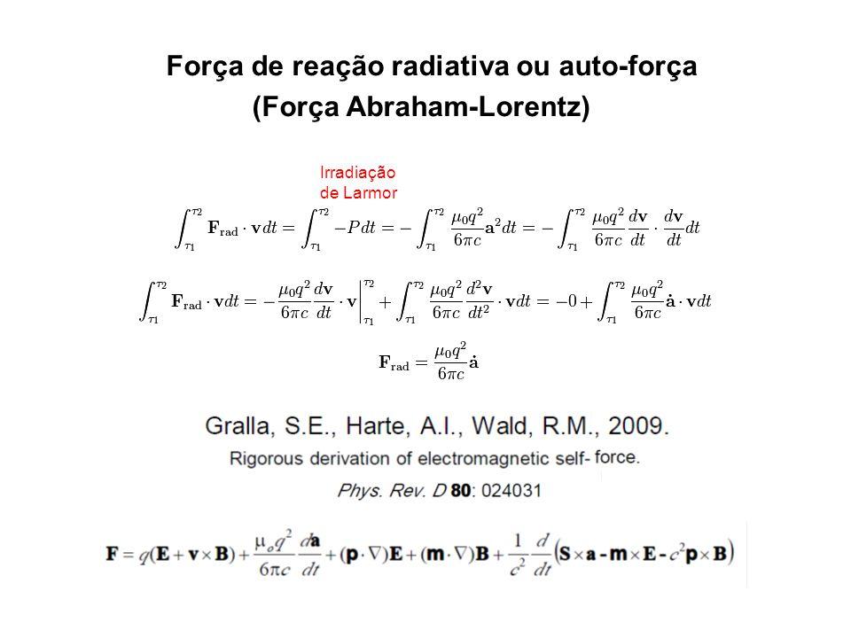 Irradiação de Larmor Força de reação radiativa ou auto-força (Força Abraham-Lorentz)
