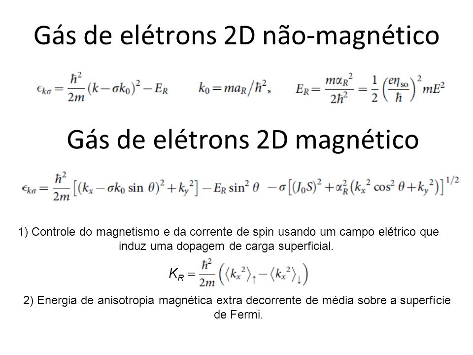 Gás de elétrons 2D não-magnético Gás de elétrons 2D magnético 2) Energia de anisotropia magnética extra decorrente de média sobre a superfície de Ferm