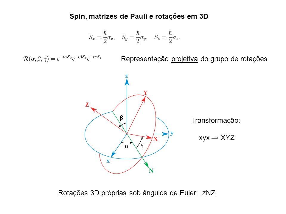 Spin, matrizes de Pauli e rotações em 3D Rotações 3D próprias sob ângulos de Euler: zNZ Representação projetiva do grupo de rotações Transformação: xy