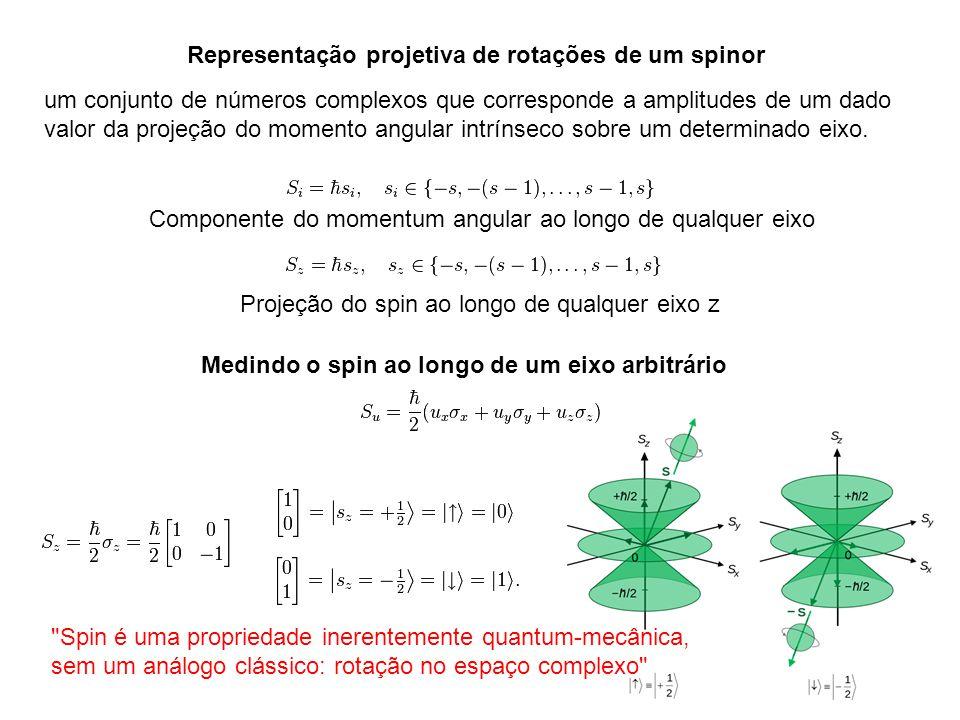 Representação projetiva de rotações de um spinor Componente do momentum angular ao longo de qualquer eixo Projeção do spin ao longo de qualquer eixo z