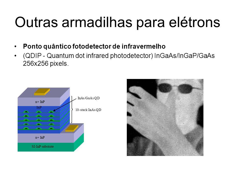 Outras armadilhas para elétrons Ponto quântico fotodetector de infravermelho (QDIP - Quantum dot infrared photodetector) InGaAs/InGaP/GaAs 256x256 pix