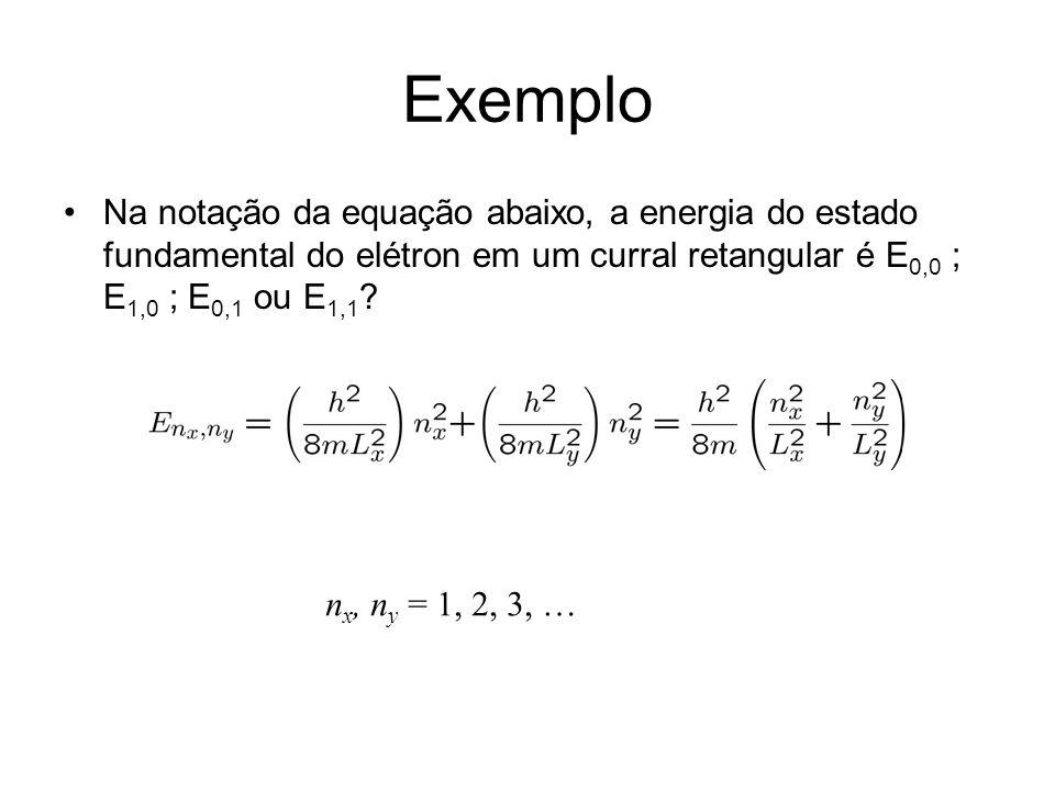 Exemplo Na notação da equação abaixo, a energia do estado fundamental do elétron em um curral retangular é E 0,0 ; E 1,0 ; E 0,1 ou E 1,1 ? n x, n y =