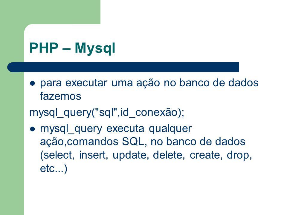 PHP – Mysql para executar uma ação no banco de dados fazemos mysql_query(