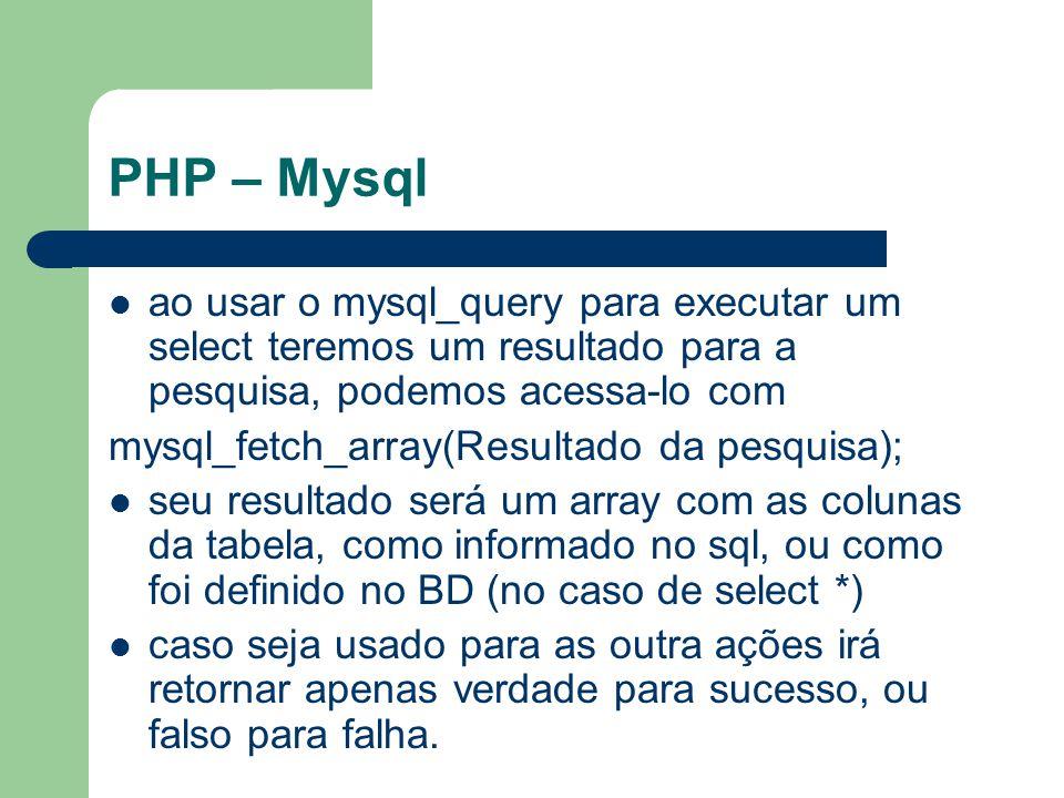PHP – Mysql ao usar o mysql_query para executar um select teremos um resultado para a pesquisa, podemos acessa-lo com mysql_fetch_array(Resultado da p