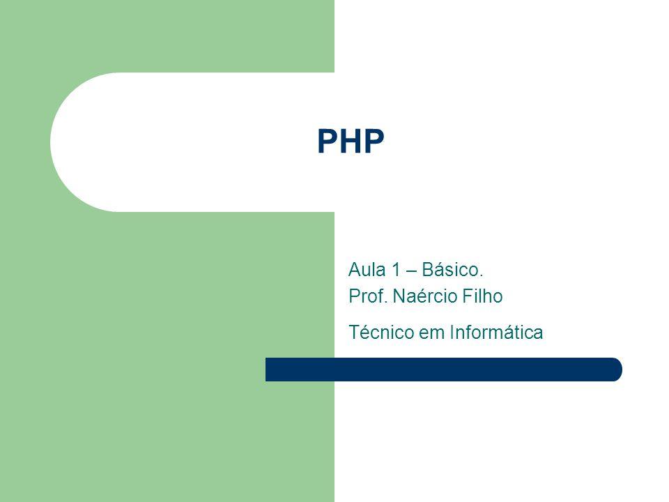 PHP Aula 1 – Básico. Prof. Naércio Filho Técnico em Informática