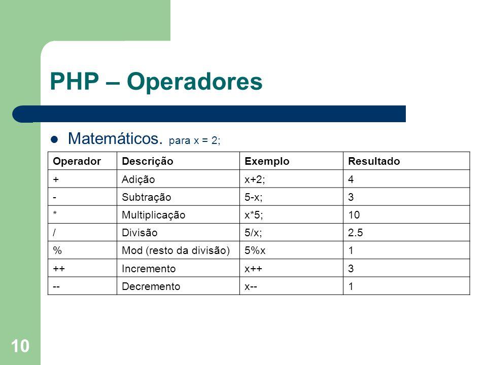 10 PHP – Operadores Matemáticos. para x = 2; OperadorDescriçãoExemploResultado +Adiçãox+2;4 -Subtração5-x;3 *Multiplicaçãox*5;10 /Divisão5/x;2.5 %Mod