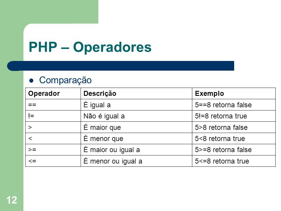 12 PHP – Operadores Comparação OperadorDescriçãoExemplo ==É igual a5==8 retorna false !=Não é igual a5!=8 retorna true >É maior que5>8 retorna false <