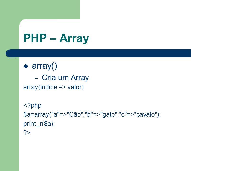 PHP – Array array() – Cria um Array array(indice => valor) <?php $a=array( a => Cão , b => gato , c => cavalo ); print_r($a); ?>