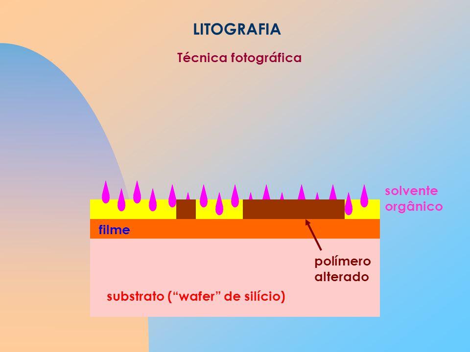 LITOGRAFIA substrato (wafer de silício) filme solvente orgânico polímero alterado Técnica fotográfica
