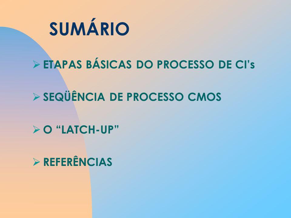 SUMÁRIO ETAPAS BÁSICAS DO PROCESSO DE CIs SEQÜÊNCIA DE PROCESSO CMOS O LATCH-UP REFERÊNCIAS