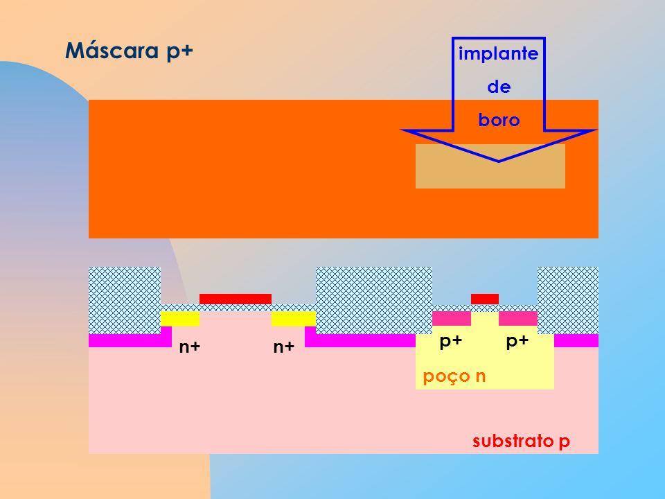 substrato p poço n Máscara p+ n+ implante de boro p+