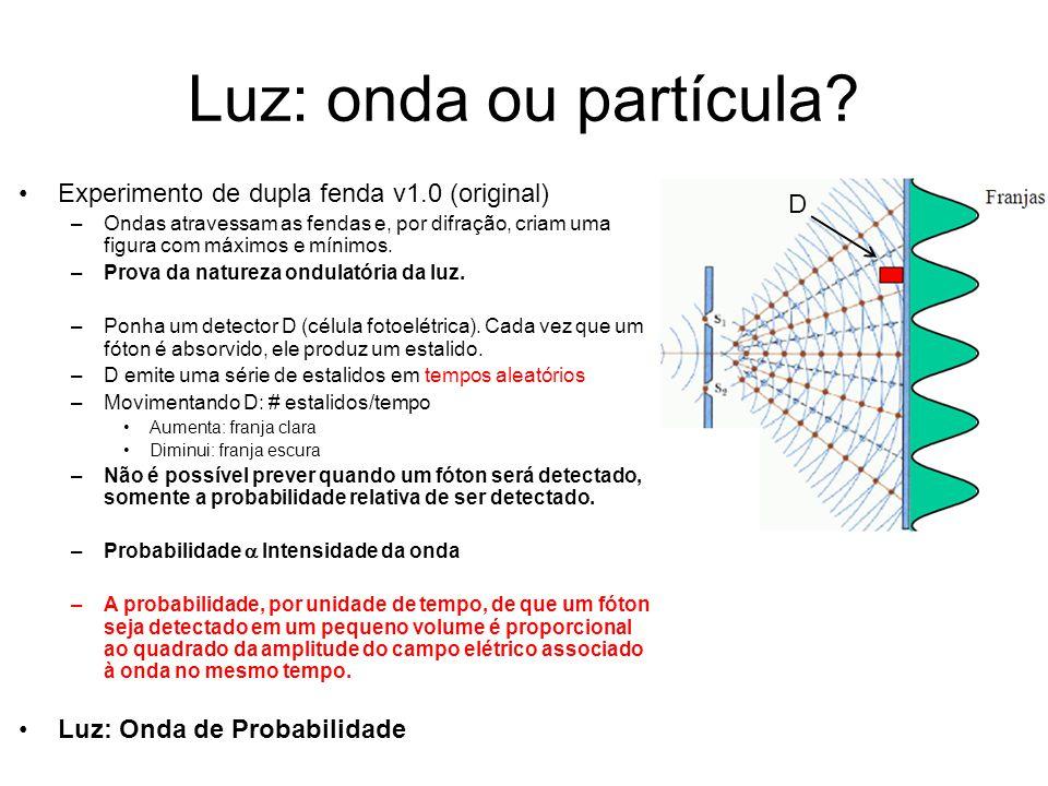 Luz: onda ou partícula? Experimento de dupla fenda v1.0 (original) –Ondas atravessam as fendas e, por difração, criam uma figura com máximos e mínimos
