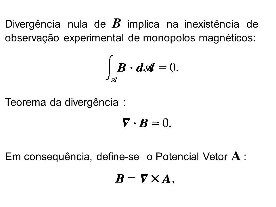 Divergência nula de B implica na inexistência de observação experimental de monopolos magnéticos: Teorema da divergência : Em consequência, define-se