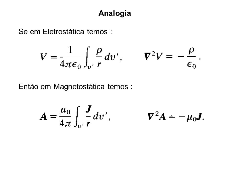 Analogia Se em Eletrostática temos : Então em Magnetostática temos :