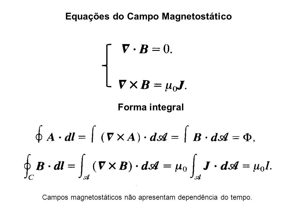 Equações do Campo Magnetostático Forma integral Campos magnetostáticos não apresentam dependência do tempo.