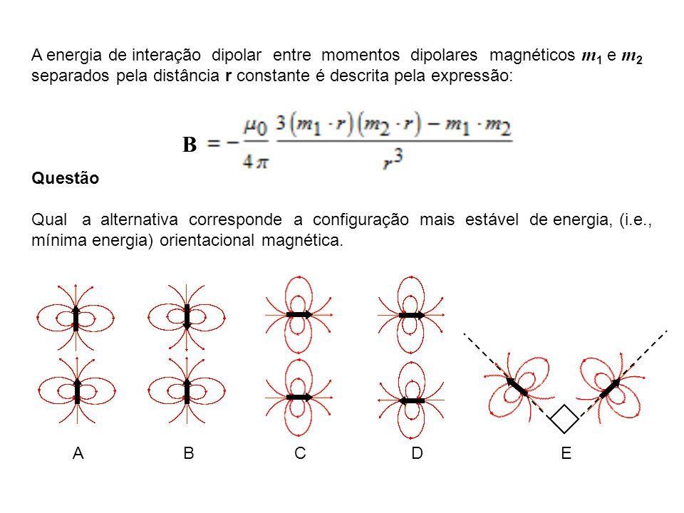 A energia de interação dipolar entre momentos dipolares magnéticos m 1 e m 2 separados pela distância r constante é descrita pela expressão: Questão Q