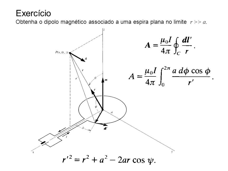 Exercício Obtenha o dipolo magnético associado a uma espira plana no limite r >> a.