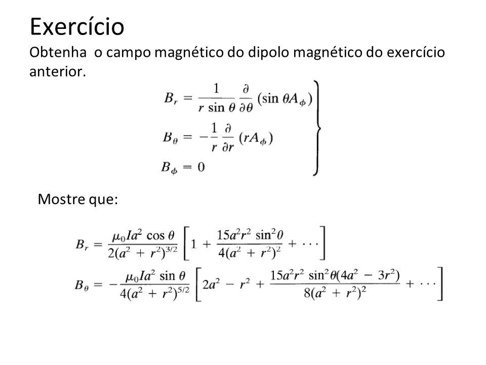 Exercício Obtenha o campo magnético do dipolo magnético do exercício anterior. Mostre que: