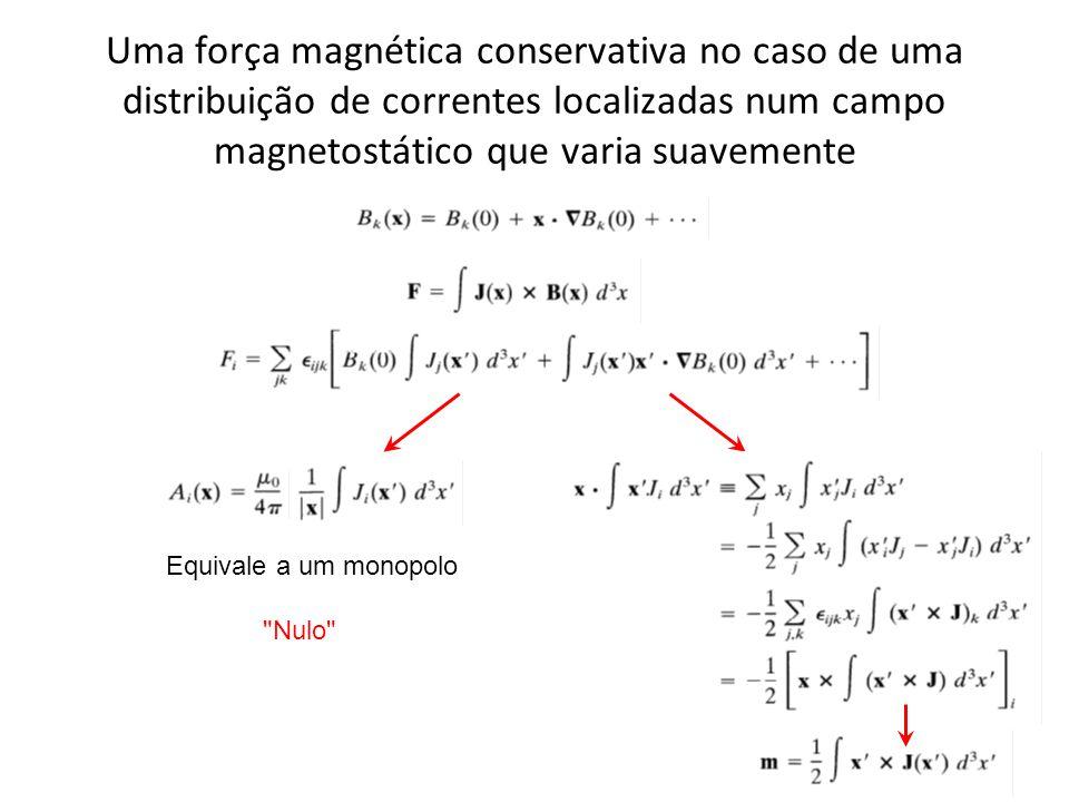 Uma força magnética conservativa no caso de uma distribuição de correntes localizadas num campo magnetostático que varia suavemente Equivale a um mono