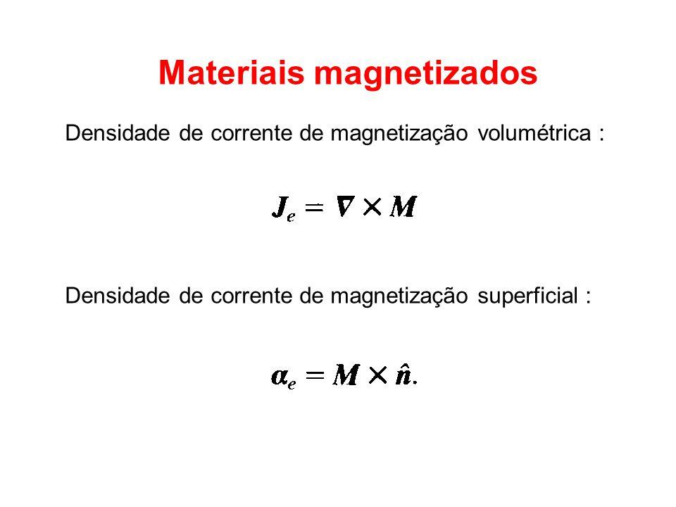 Materiais magnetizados Densidade de corrente de magnetização volumétrica : Densidade de corrente de magnetização superficial :