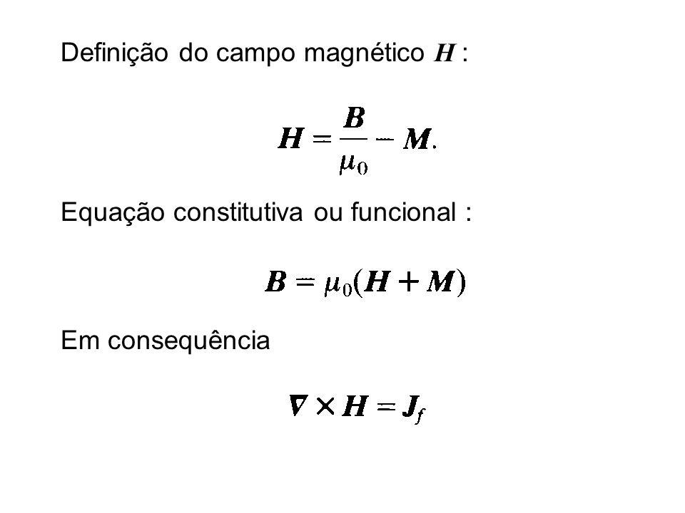 Definição do campo magnético H : Equação constitutiva ou funcional : Em consequência