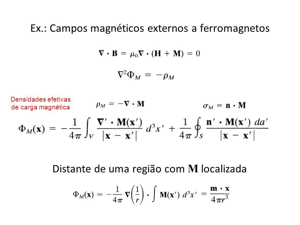 Ex.: Campos magnéticos externos a ferromagnetos Densidades efetivas de carga magnética Distante de uma região com M localizada