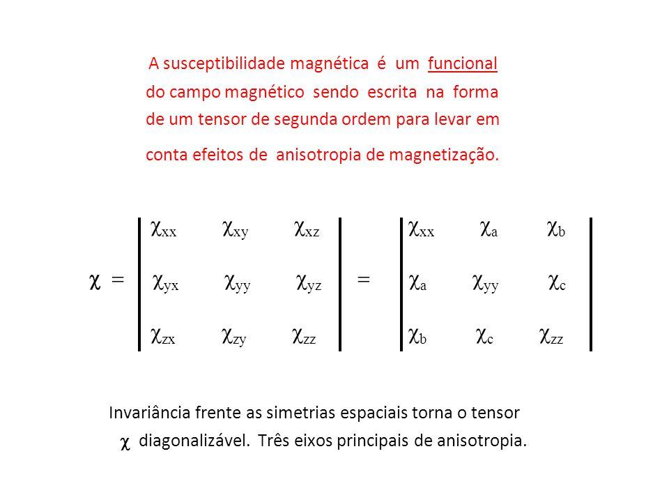 A susceptibilidade magnética é um funcional do campo magnético sendo escrita na forma de um tensor de segunda ordem para levar em conta efeitos de ani