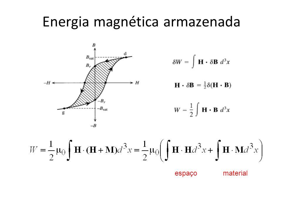 Energia magnética armazenada espaço material