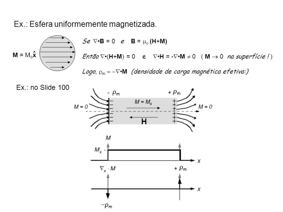 SeB = 0 e B = (H+M) Então (H+M) = 0 eH = -M 0 ( M 0 na superfície ! ) Logo, mM (densidade de carga magnética efetiva:) M = M o x ^ H m m m m Ex.: Esfe