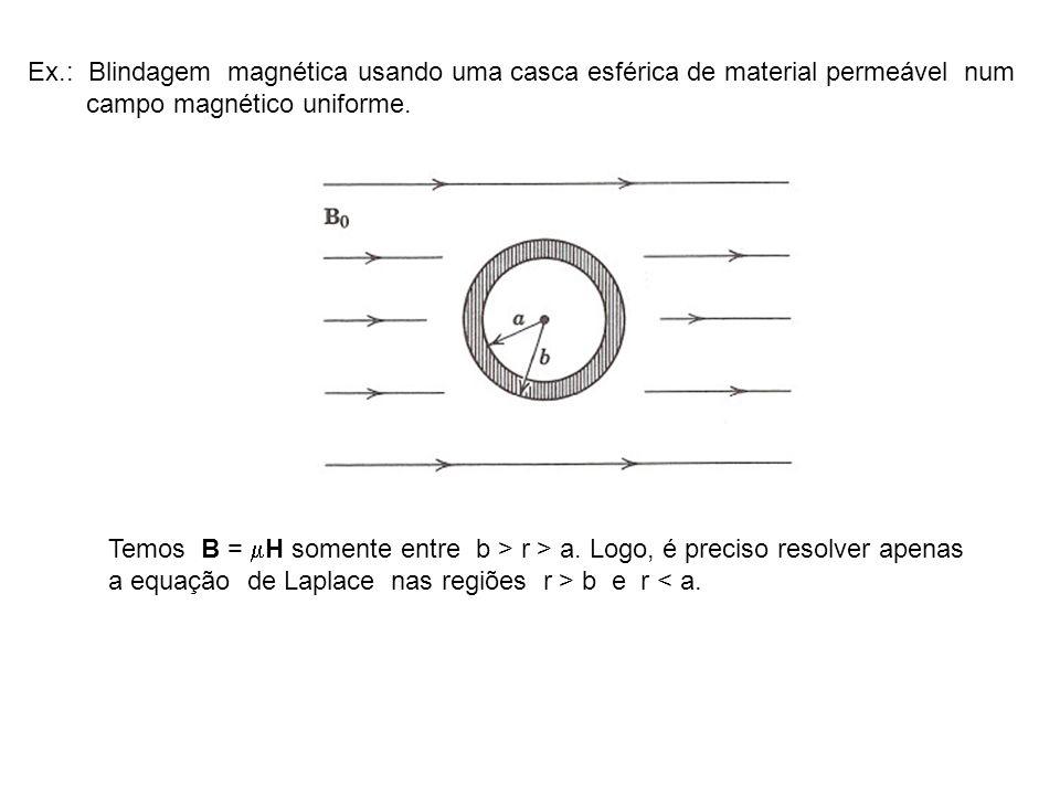 Ex.: Blindagem magnética usando uma casca esférica de material permeável num campo magnético uniforme. Temos B = H somente entre b > r > a. Logo, é pr