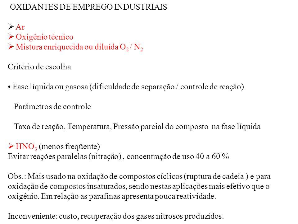 OXIDANTES DE EMPREGO INDUSTRIAIS Ar Oxigênio técnico Mistura enriquecida ou diluída O 2 / N 2 Critério de escolha Fase líquida ou gasosa (dificuldade