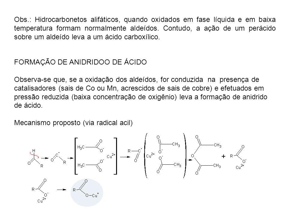 Obs.: Hidrocarbonetos alifáticos, quando oxidados em fase líquida e em baixa temperatura formam normalmente aldeídos. Contudo, a ação de um perácido s