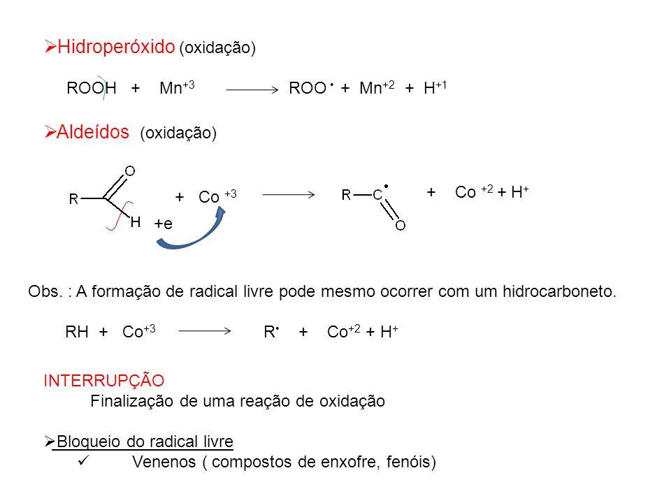 Hidroperóxido (oxidação) ROOH + Mn +3 ROO + Mn +2 + H +1 Aldeídos (oxidação) + Co +3 + Co +2 + H + +e Obs. : A formação de radical livre pode mesmo oc