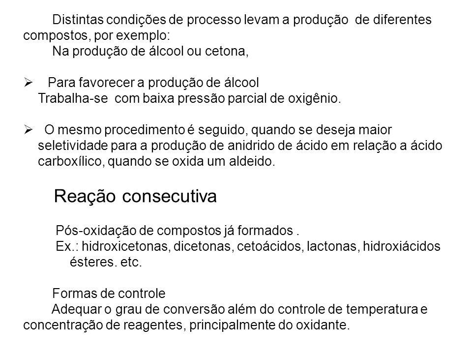 Distintas condições de processo levam a produção de diferentes compostos, por exemplo: Na produção de álcool ou cetona, Para favorecer a produção de á