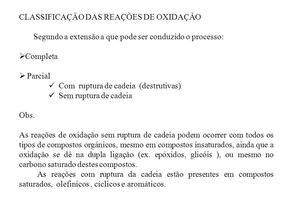 CLASSIFICAÇÃO DAS REAÇÕES DE OXIDAÇÃO Segundo a extensão a que pode ser conduzido o processo: Completa Parcial Com ruptura de cadeia (destrutivas) Sem