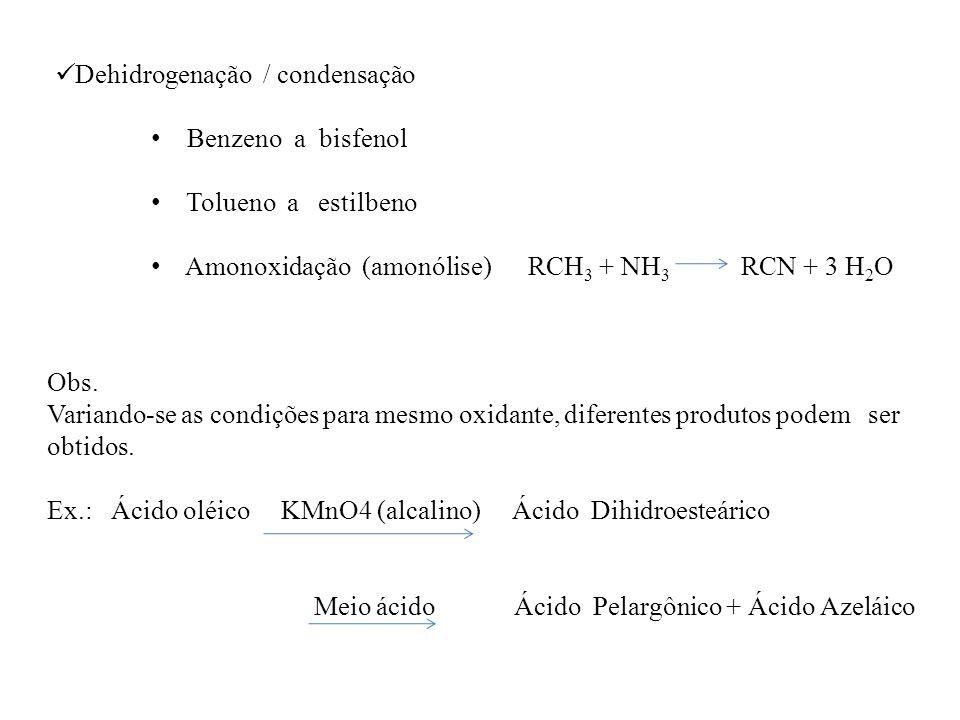Dehidrogenação / condensação Benzeno a bisfenol Tolueno a estilbeno Amonoxidação (amonólise) RCH 3 + NH 3 RCN + 3 H 2 O Obs. Variando-se as condições