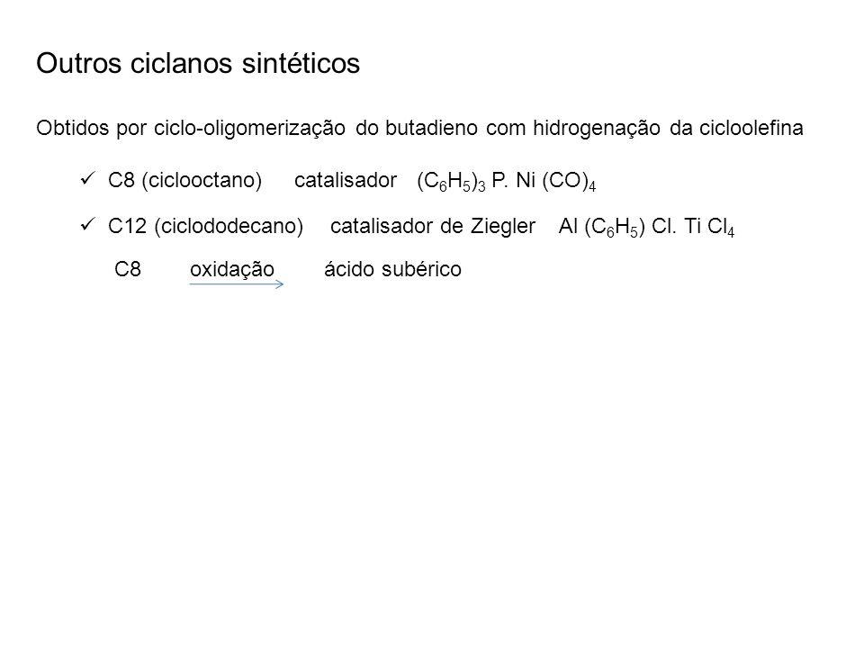 Outros ciclanos sintéticos Obtidos por ciclo-oligomerização do butadieno com hidrogenação da cicloolefina C8 (ciclooctano) catalisador (C 6 H 5 ) 3 P.
