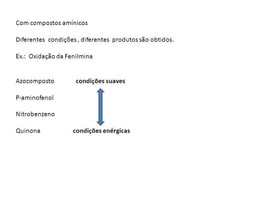Com compostos amínicos Diferentes condições, diferentes produtos são obtidos. Ex.: Oxidação da Fenilmina Azocomposto condições suaves P-aminofenol Nit