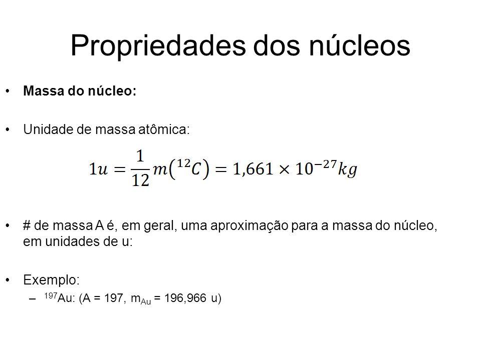 Propriedades dos núcleos Massa do núcleo: Unidade de massa atômica: # de massa A é, em geral, uma aproximação para a massa do núcleo, em unidades de u
