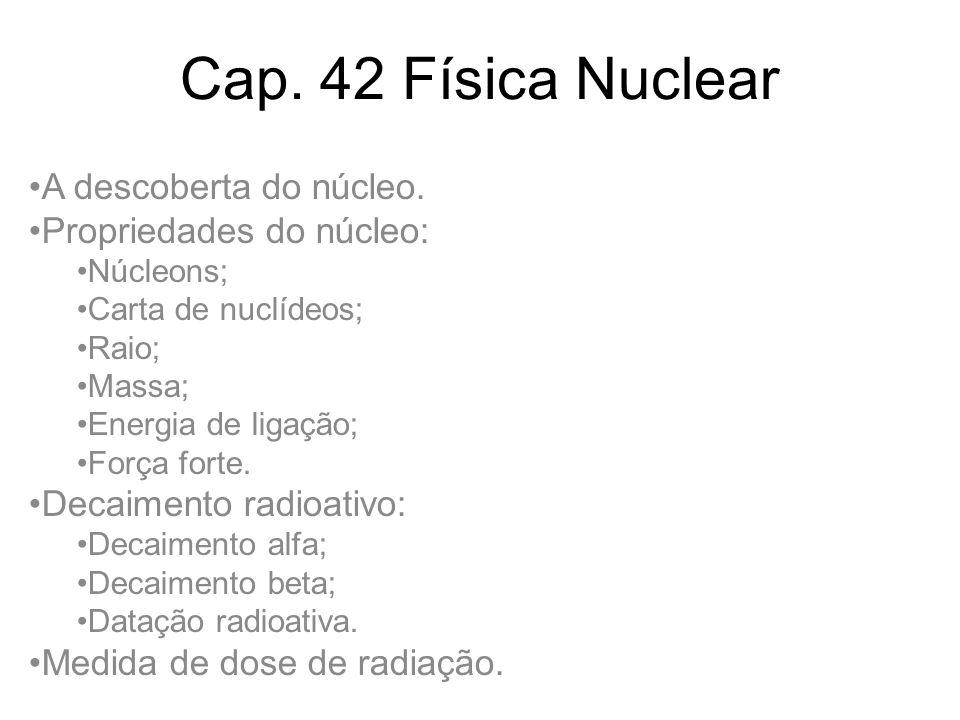 Cap. 42 Física Nuclear A descoberta do núcleo. Propriedades do núcleo: Núcleons; Carta de nuclídeos; Raio; Massa; Energia de ligação; Força forte. Dec