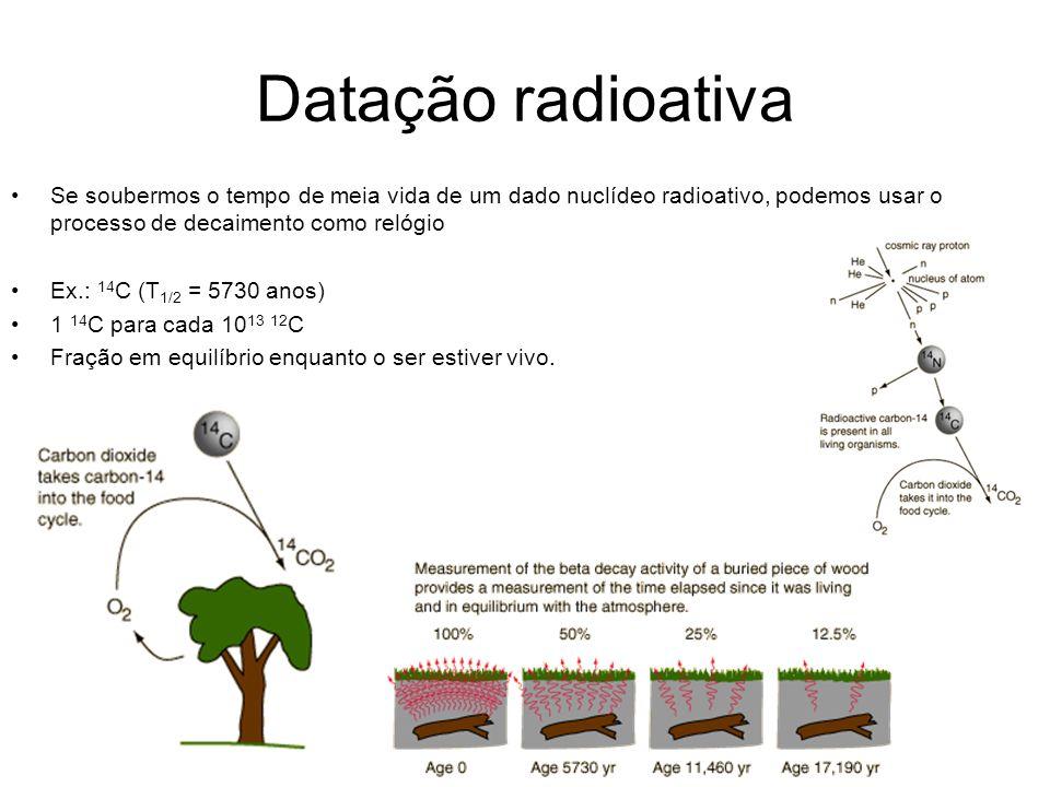 Datação radioativa Se soubermos o tempo de meia vida de um dado nuclídeo radioativo, podemos usar o processo de decaimento como relógio Ex.: 14 C (T 1