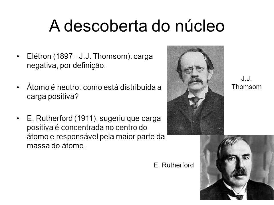 A descoberta do núcleo Elétron (1897 - J.J. Thomsom): carga negativa, por definição. Átomo é neutro: como está distribuída a carga positiva? E. Ruther