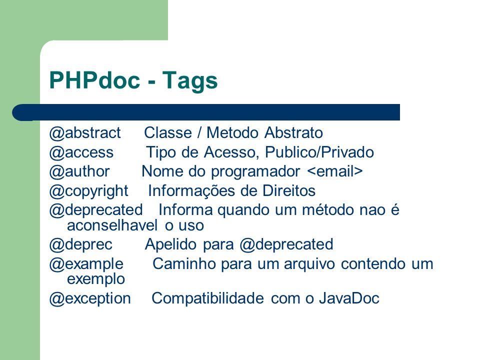 PHPdoc - Tags @abstract Classe / Metodo Abstrato @access Tipo de Acesso, Publico/Privado @author Nome do programador @copyright Informações de Direito