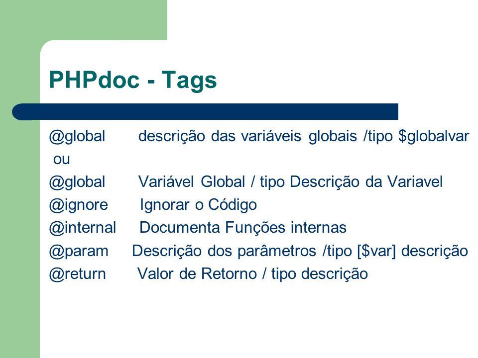 PHPdoc - Tags @global descrição das variáveis globais /tipo $globalvar ou @global Variável Global / tipo Descrição da Variavel @ignore Ignorar o Códig