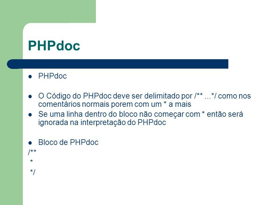 PHPdoc O Código do PHPdoc deve ser delimitado por /**...*/ como nos comentários normais porem com um * a mais Se uma linha dentro do bloco não começar