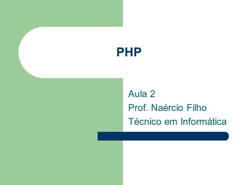 PHP Aula 2 Prof. Naércio Filho Técnico em Informática