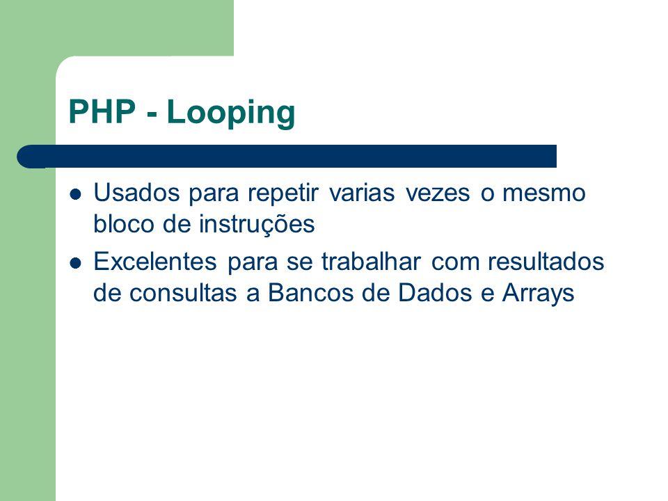 PHP - Looping Usados para repetir varias vezes o mesmo bloco de instruções Excelentes para se trabalhar com resultados de consultas a Bancos de Dados