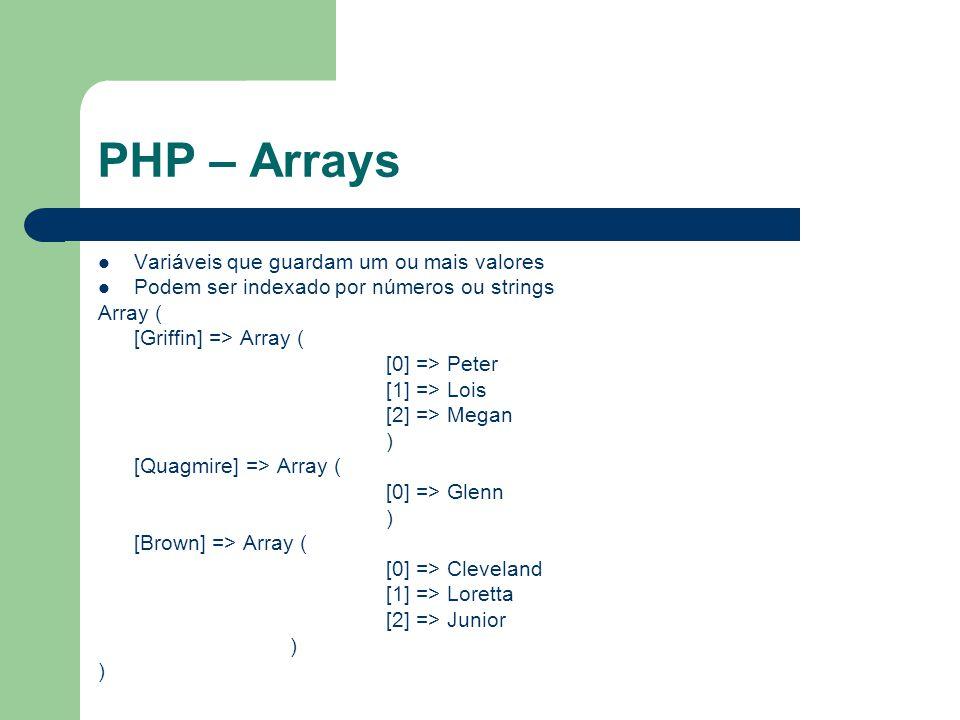 PHP – Arrays Variáveis que guardam um ou mais valores Podem ser indexado por números ou strings Array ( [Griffin] => Array ( [0] => Peter [1] => Lois