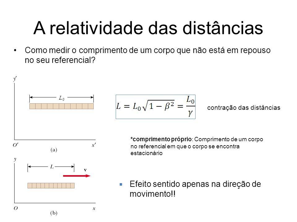 A relatividade das distâncias Como medir o comprimento de um corpo que não está em repouso no seu referencial? L0L0 contração das distâncias *comprime